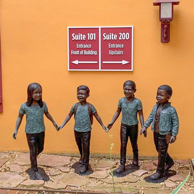 Celebrate Diversity - Fun with Friends-Bronze Statue of Children Reading-Randolph Rose Collection-RG1483