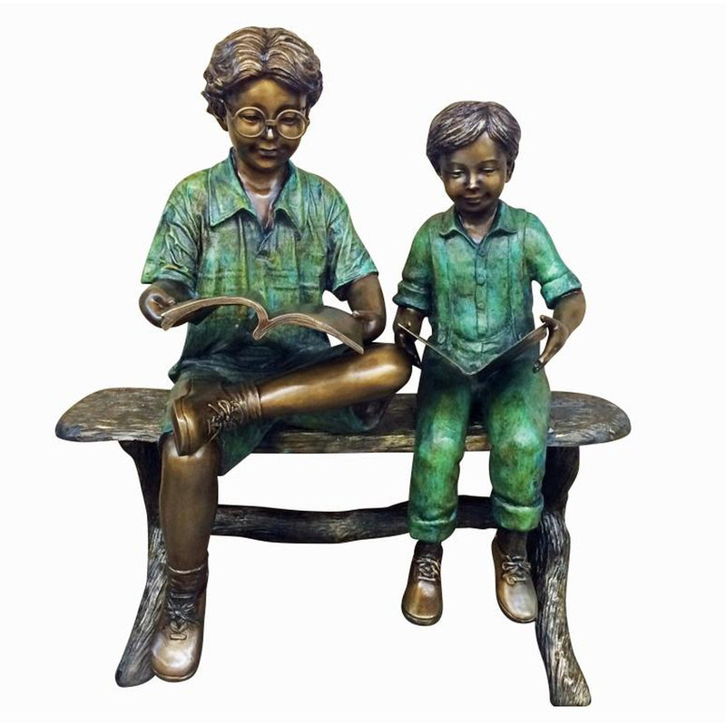 Bronze Statue Two Boys on Bench