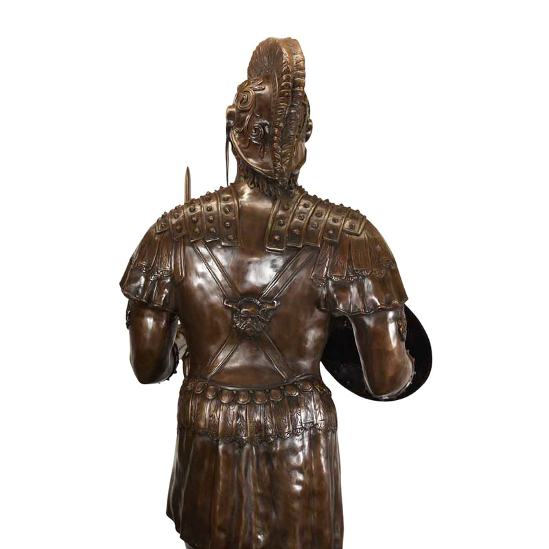Bronze Roman Soldier Holding Shield and Sword