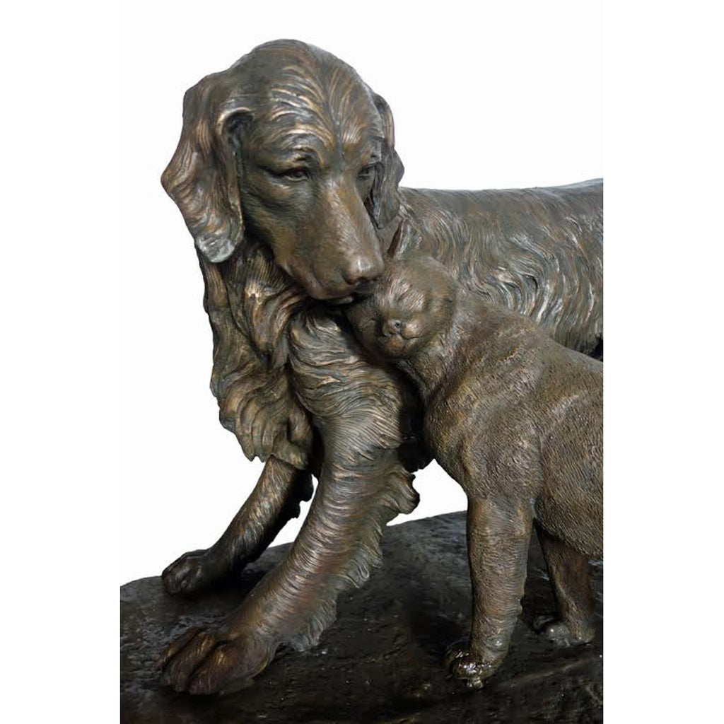 Custom Bronze Dog and Cat Statue on Base