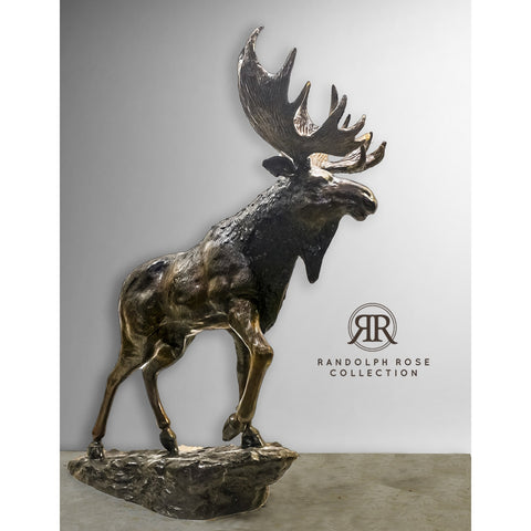 Bronze Moose Statue - Brown Patina