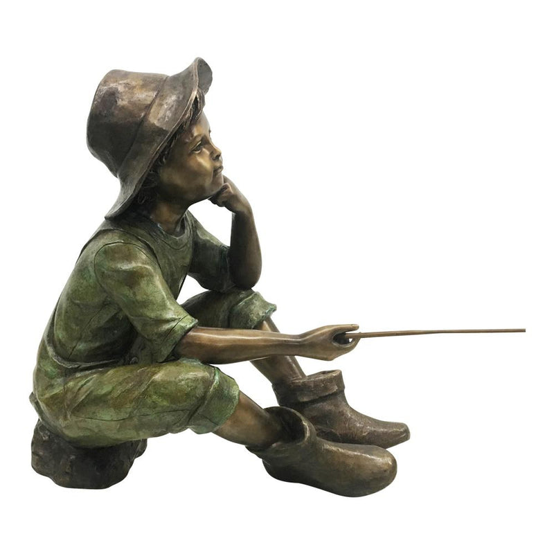 Boys Fishing Bronze Statues