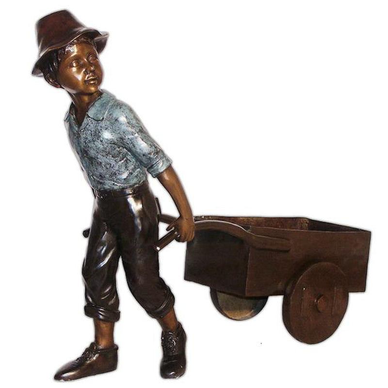 Boy Pulling Wheelbarrow Statue