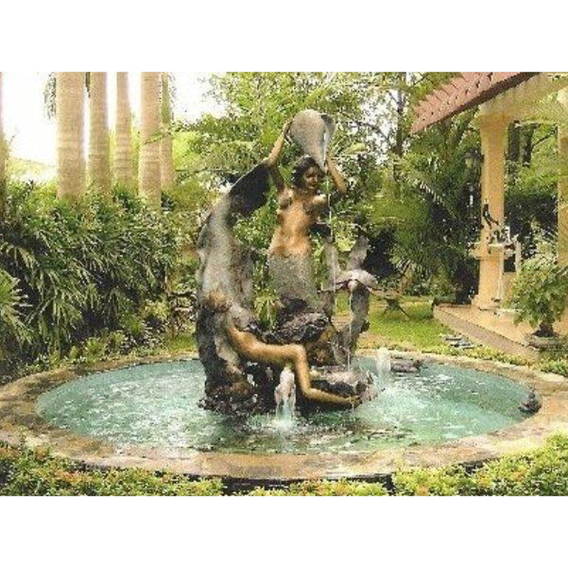 Double Mermaids Bronze Sculpture, Statue & Fountain