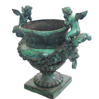 Bronze Urn with Cupid and Lions