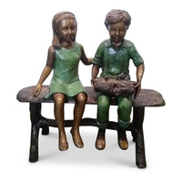 Best Friends Holding Log-Bronze Statue of Children Reading-Randolph Rose Collection-RG1970