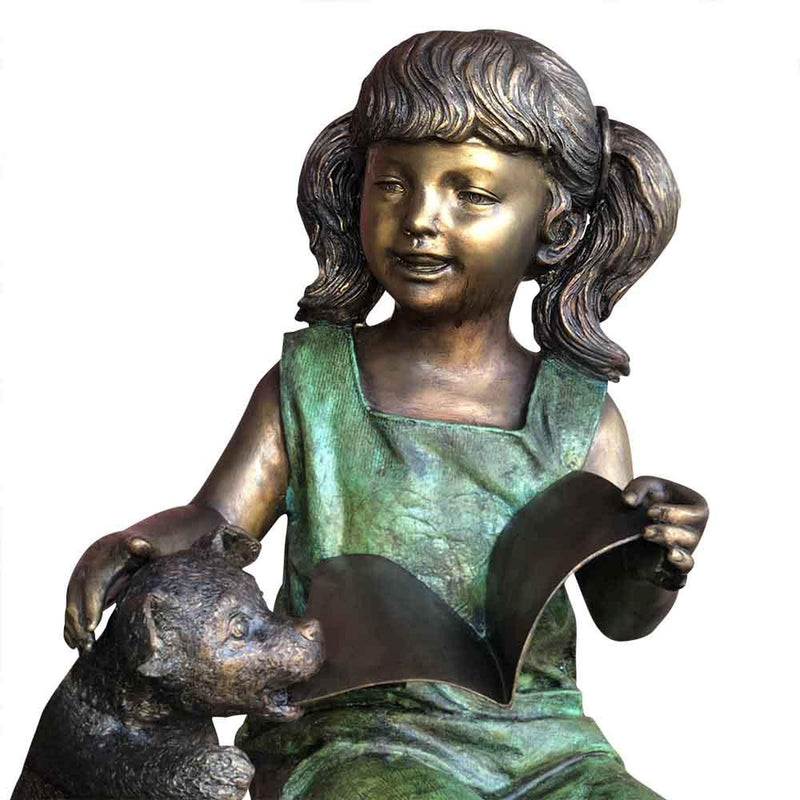 Dog Ate My Best Friends Homework-Bronze Statue of Children Reading-Randolph Rose Collection-RG1971