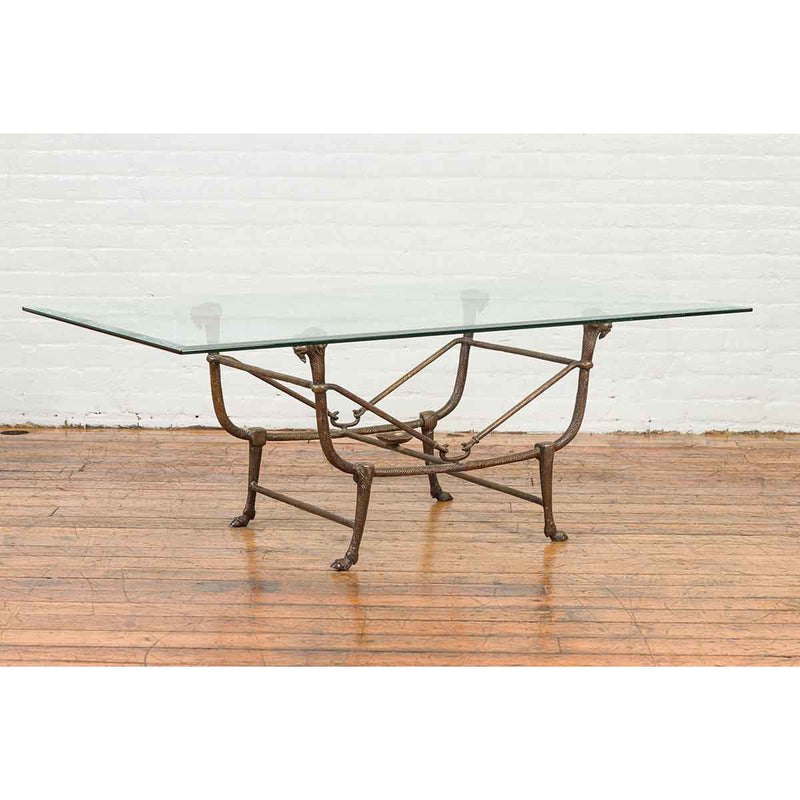 Directoire Style Bronze Coffee Table Base with Rams Heads and Dark Patina