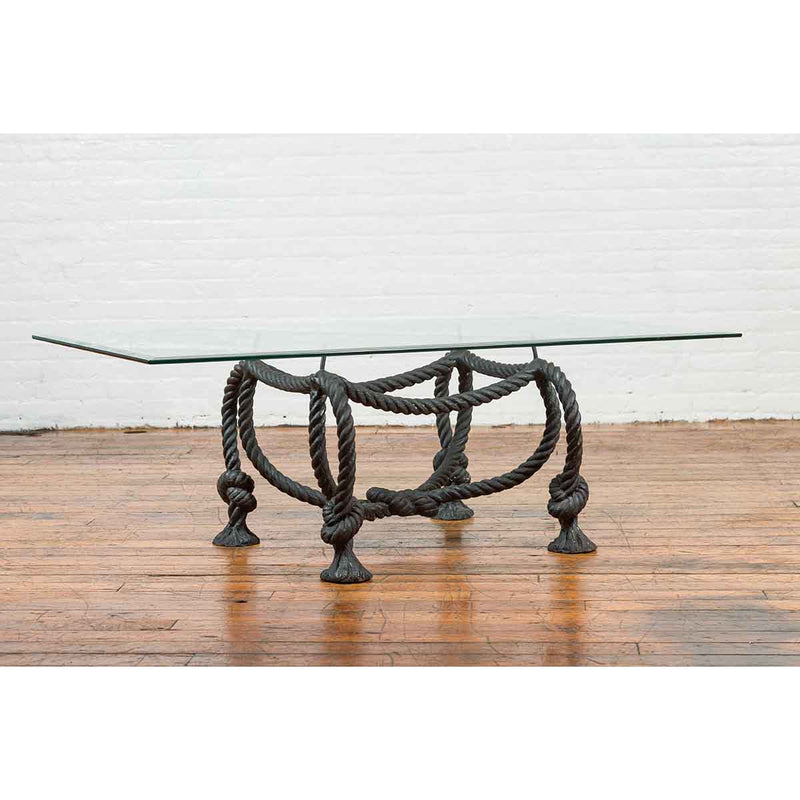 Contemporary Cast Bronze Nautical Rope Maison Jansen Style Coffee Table Base