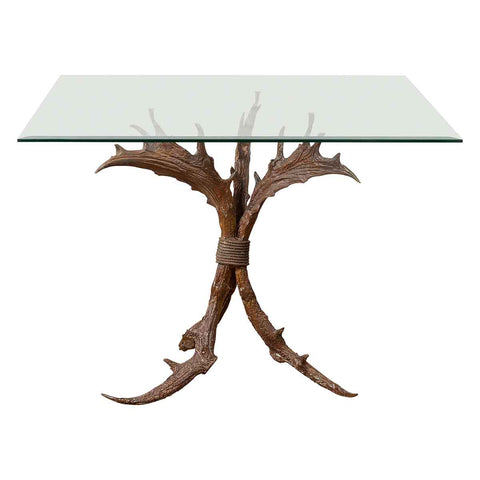 Contemporary Bronze Antler Dining Table Base with Brown Patina