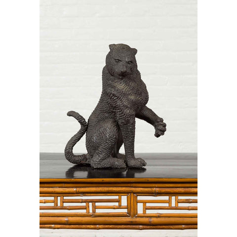 Vintage Bronze Sitting Panther Sculpture with Textured Finish and Dark Patina