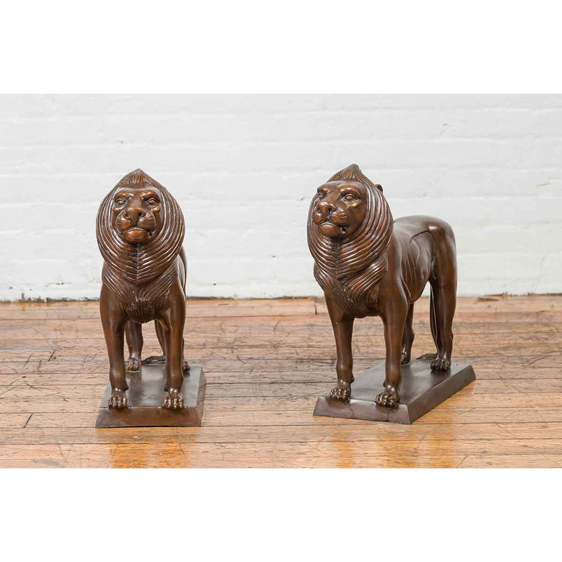 Pair of Contemporary Bronze Lion Sculptures on Bases with Dark Patina