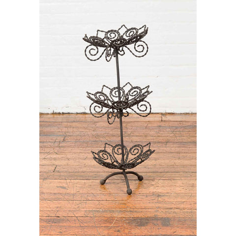 Vintage Bronze Three-Tiered Stand with Dark Patina and Scrolled Motifs