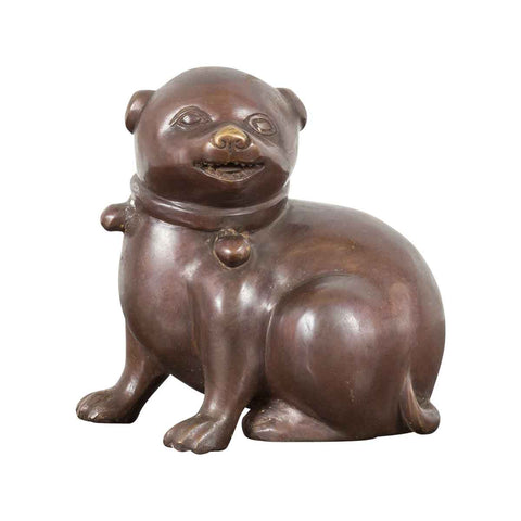 Petite Taisho Style Bronze Puppy Dog Sculpture in the Manner of the Hirado Puppy