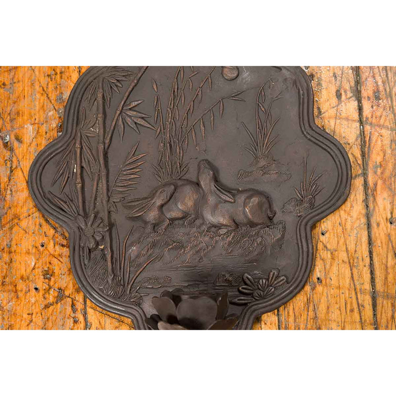 Vintage Bronze Candle Sconce with Rabbits and Bamboo in Dark Patina