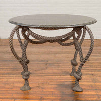 Tall Contemporary Bronze Nautical Rope Maison Jansen Style Dining Table Base