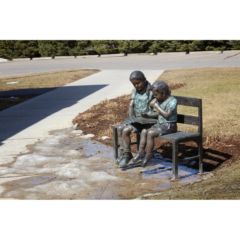 Lending a Helping Hand-Bronze Statue of Children Reading-Randolph Rose Collection-RG228