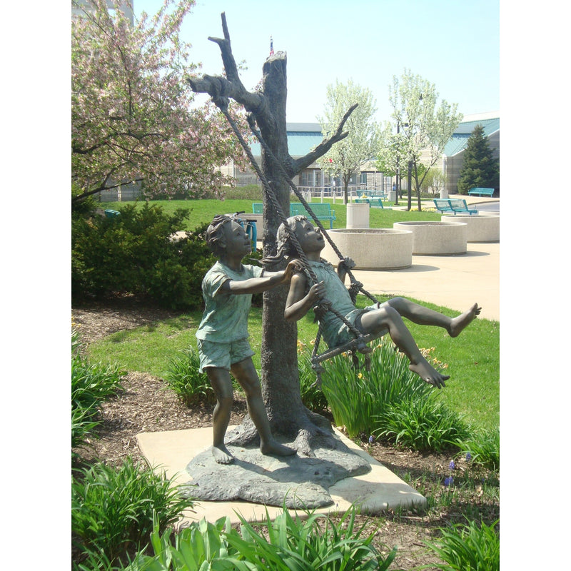 Bronze Statue of  Two Children on Swing