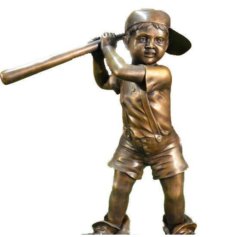 Boy Playing Baseball Bronze Statue Wearing  Dad's Shoes
