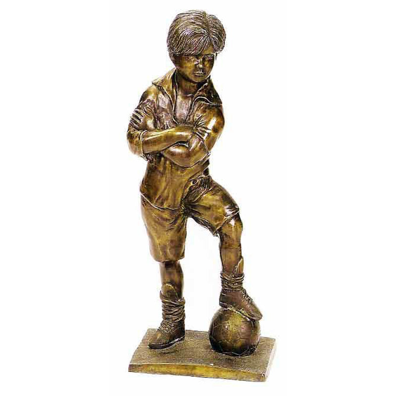 Bronze Sports Statue of Boy Playing Soccer