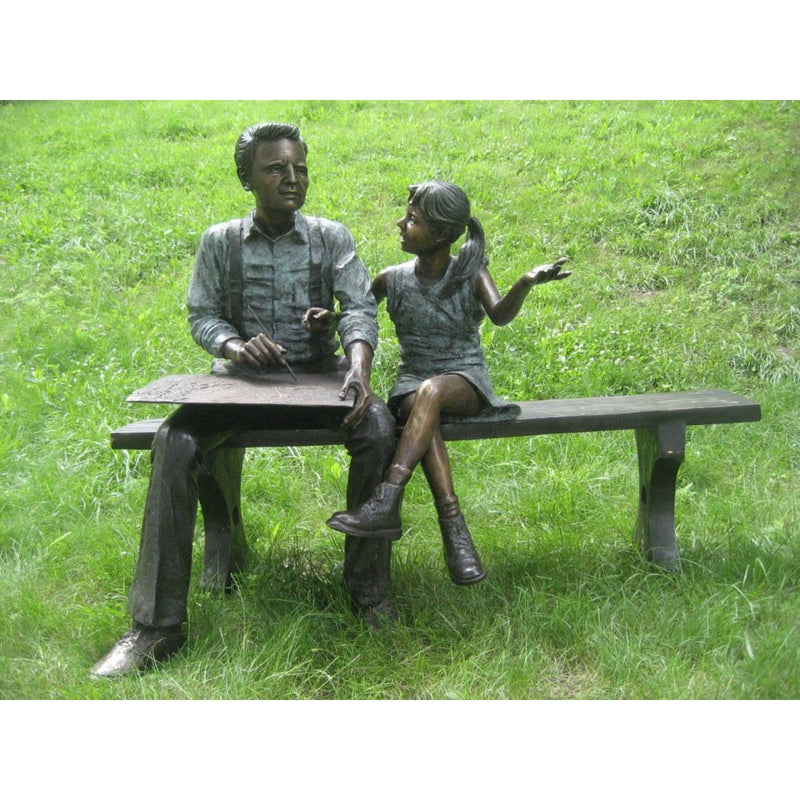 Family Bronze Statue - Child and Grandfather