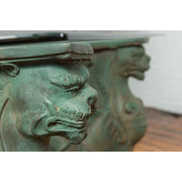 Vintage Bronze Double Mythical Figures Table Base with Verde Patina