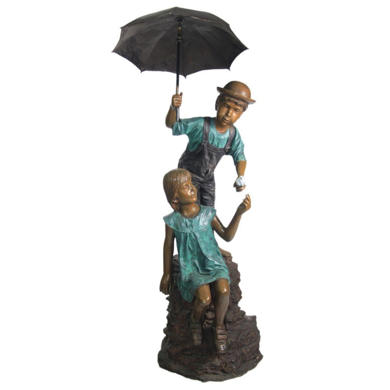 Two Children Holding Umbrella Bronze Statue