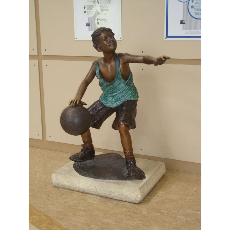 Bronze Sports Statue of Boy Playing Basketball