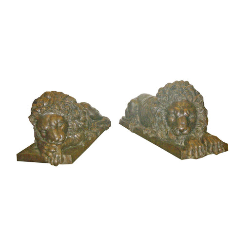 Pair of Sleeping Bronze Lion Statues