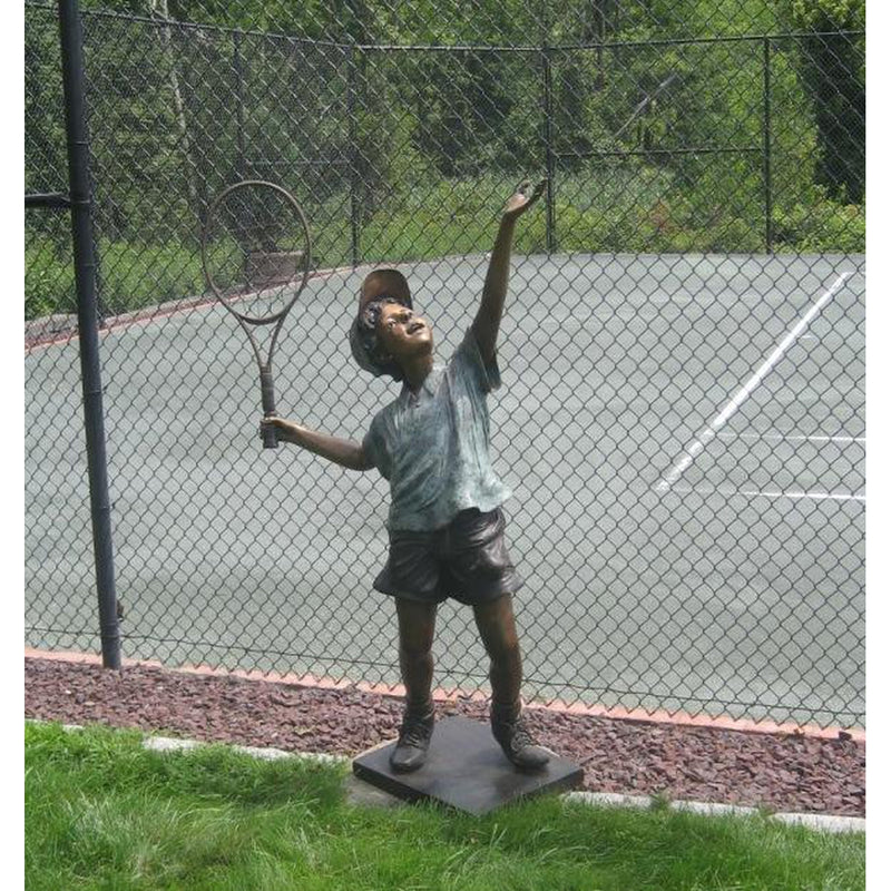 Bronze Sports Statue of a Boy Playing Tennis