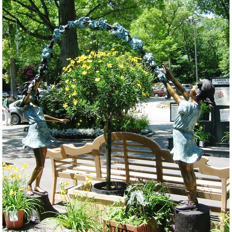 Bronze Sculpture Girls Playing Jump Rope Flower Arbor