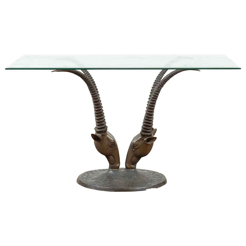 Contemporary Cast Bronze Double Antelope Dining Table Base with Dark Patina