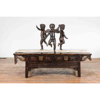 Vintage Cast Bronze Dancing Cherubs Coffee Table Base with Dark Patina