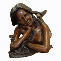 Bronze Statue Garden Maiden Outdoor Female Art