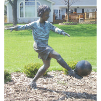 Bronze Sports Statue of a Boy Playing Soccer