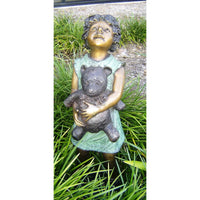 Bronze Girl Statue Holding a Teddy Bear