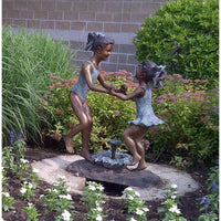 Bronze Statue of  Two Girls in SwimSuits Playing Fountain