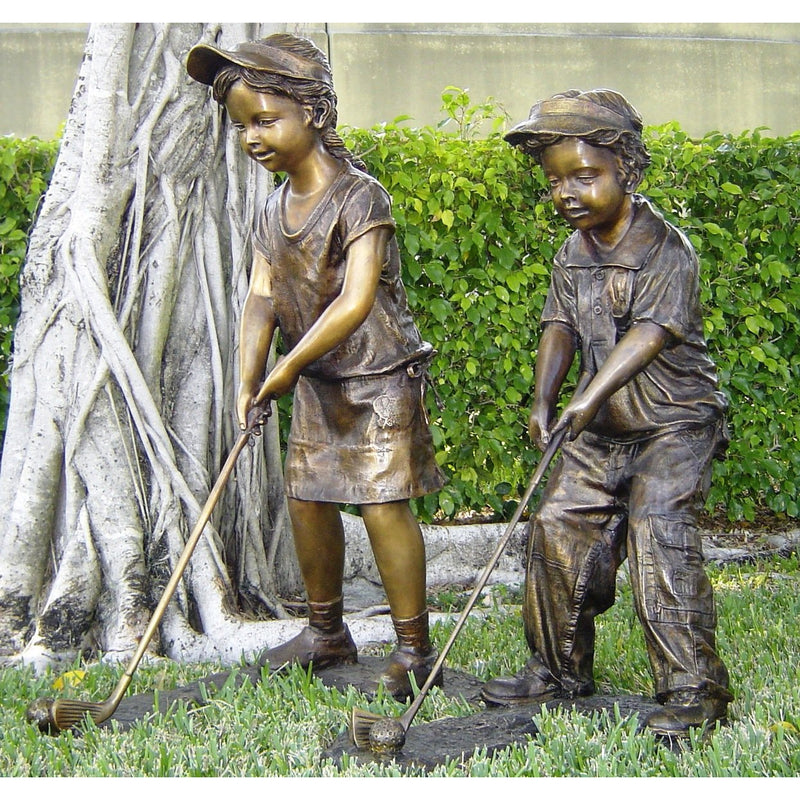 Bronze Sports Statue of a Boy Playing Golf
