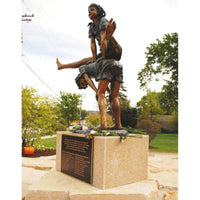 Bronze Statue of a Boy and Girl Playing Leapfrog