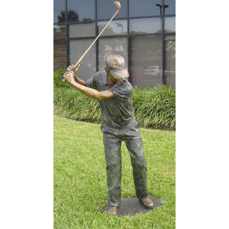 Bronze Statue of a Man Playing Golf