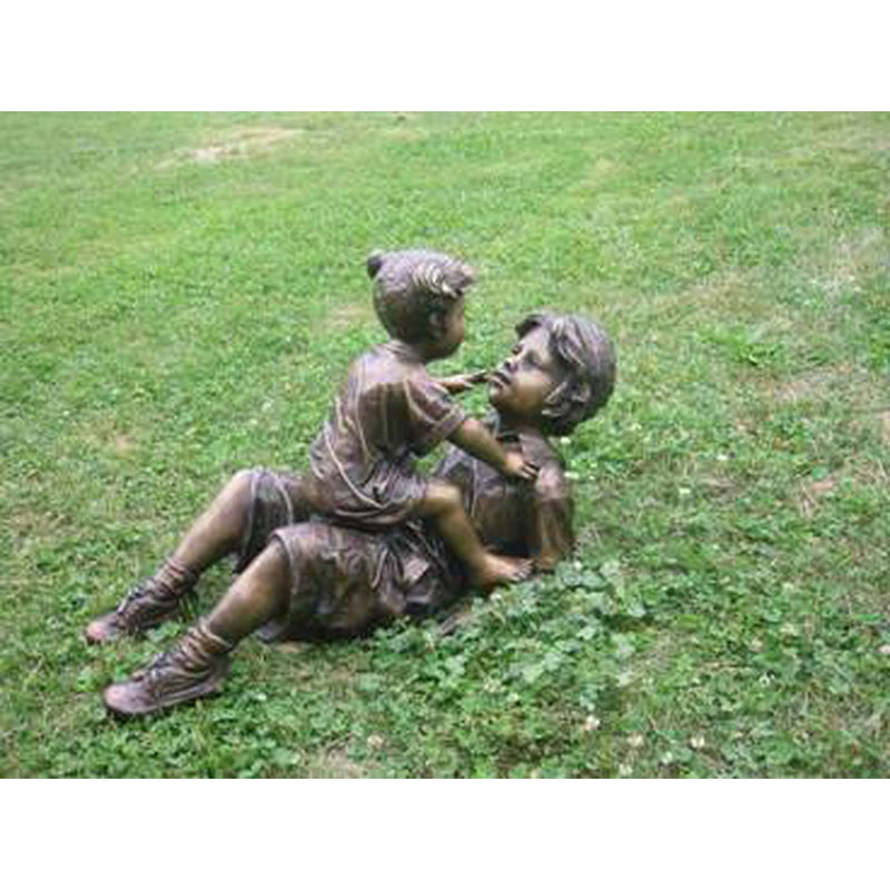 Bronze Statue of Brother and Sister Playing