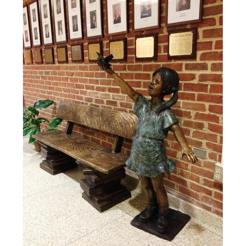 Bronze Book Buddy Bench with Back for Libraries and Schools