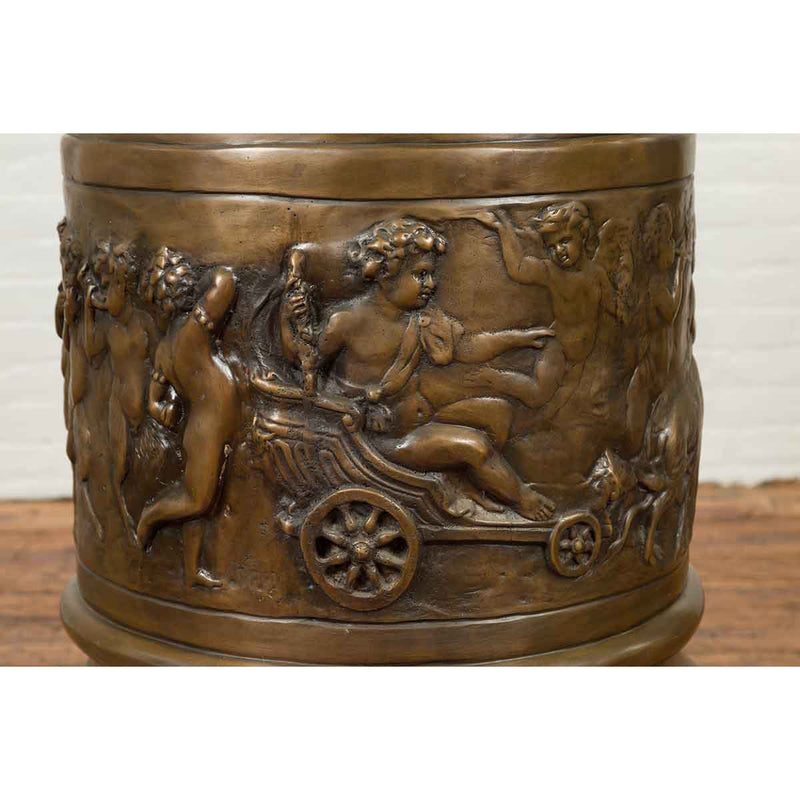 Large Greco-Roman Style Contemporary Bronze Pedestal with Bacchanalia Frieze