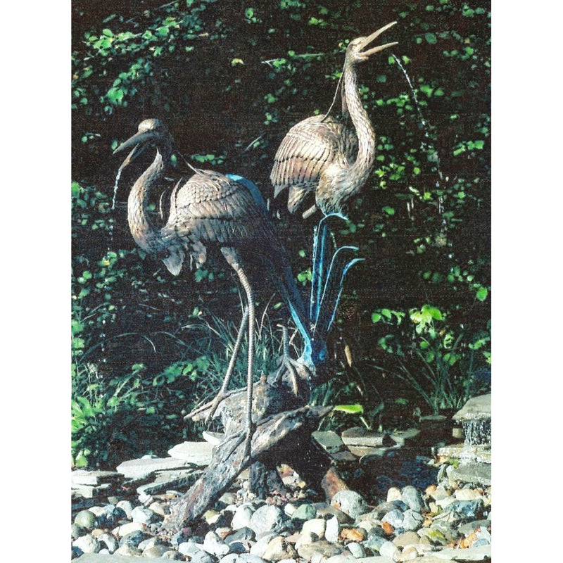 Bronze Fountain of Two Blue Herons on Tree Stump