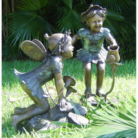 Bronze Fairy Statue and Bronze Fairy Fountain with Watering Can