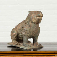 Vintage Bronze Mythical Boar Animal Sculpture on Rectangular Base