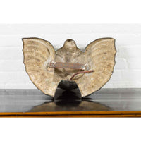Vintage Bronze Mascarnon Style Wall Fountain with Distressed Patina