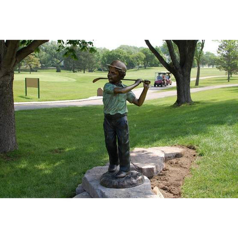 Bronze Statue of a Boy Playing Golf