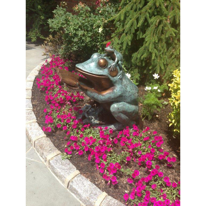 Frog Prince Reading Book Bronze Sculpture Wearing Glasses