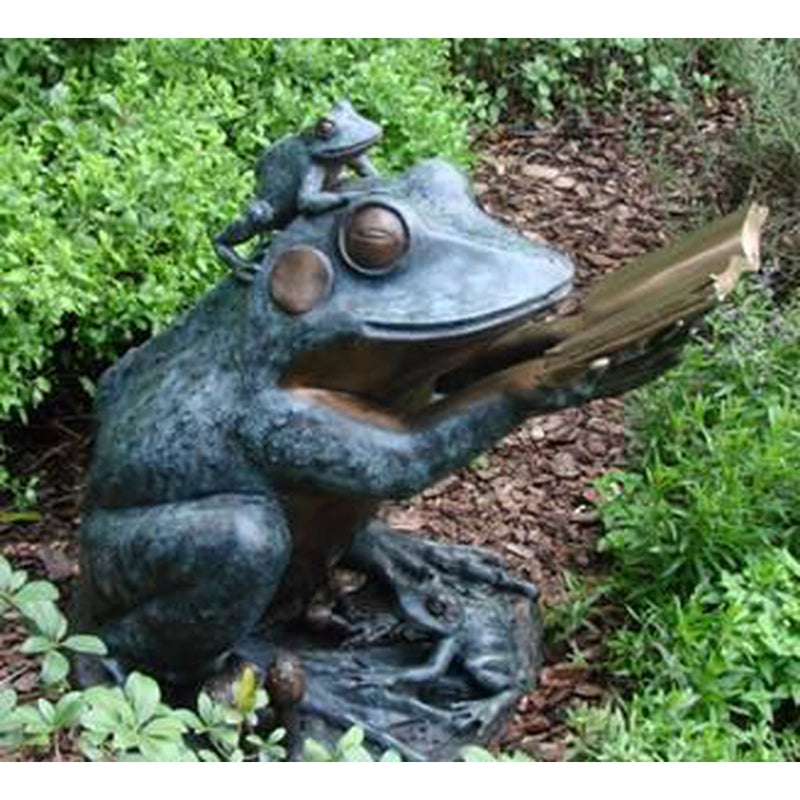 Frog Prince Reading Book Bronze Sculpture